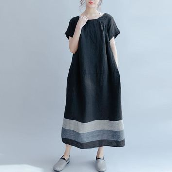 2018 Celmia Summer Women Short Sleeve Baggy Cotton Linen Stripe Patchwork Party Midi Dress Casual Black Kaftan Vestido Plus Size