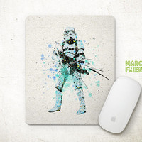 Stromtrooper Mouse Pad, Star Wars Mousepad, Watercolor Art, Home Decor, Gift, Art Print, Office Desk, Desktop Supplies, Computer Accessories