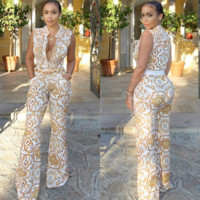 VERSACE Women Retro Sleeveless Jumpsuit