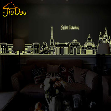 Fluorescent Luminous City Scene Saint Petersburg 3D DIY Removable Wall Stickers Kids Room Home Decor Vinyl Wall Decals 40*205cm
