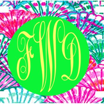 Monogrammed Lilly Inspired Shells License Plate/Tag NEW Custom Made  FREE SHIPPING to US