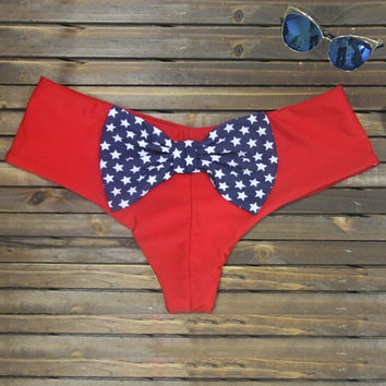 Red with Star Print Bow Knot Bottom