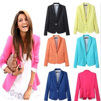2018New hot stylish and comfortable women's Blazers Candy color lined with striped suit Single Button Casual Jackets and Blazers