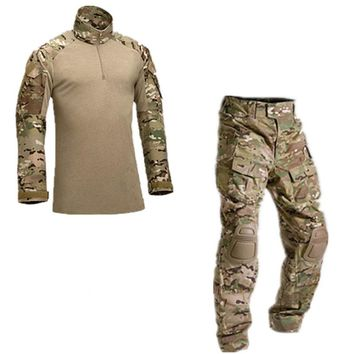 2 piece set Men Tactical Military Uniform Army Combat Uniform Tactical Pants With Knee Pads Camouflage Hunt Clothes