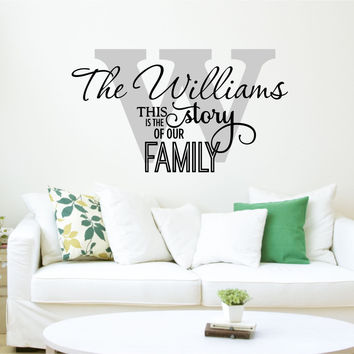 Family Name Decal - by Decor Designs Decals, This is Our Story Quote - Personalized Family Wall Decal Name Monogram - Vinyl Wall Decal Family Wall Decal Wedding AU25