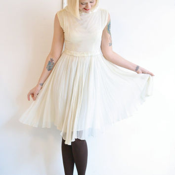 1960s Dress // vintage 1960s dress // Ivory Chiffon Sequin Trim