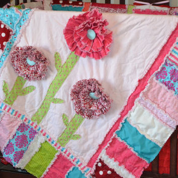 RAG QUILT PATTERN, Ruffled Flower, Sewing, Instant Download