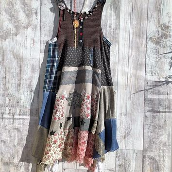 Eco Patchwork Long Boho Strapless Dress, Hippie,Vintage Embroidery & Lace, Prairie Chic, Rustic Art, Grunge Rock, Recycled Clothing M / L