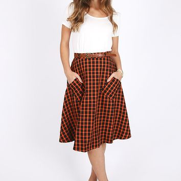 Lowell Windowpane Swing Skirt | Ruche