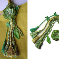 Flower bag charm Tassel bag charm Neon green tassel bag charm Bag accessories Boho accessories Handbag charm fringe purse charm flower broch