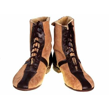 Mens Vintage Sherpa Suede 2-Tone Boots 1940S Mens Size 8.5 NIB Wannigan