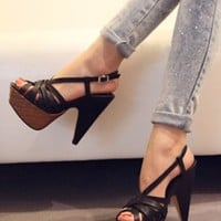 Ultra-thick Sole Platform High-heel Black Sandals [AS0012] - $46.00 :