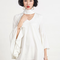 White High Neck Cut Out Detail Belle Sleeve Dress