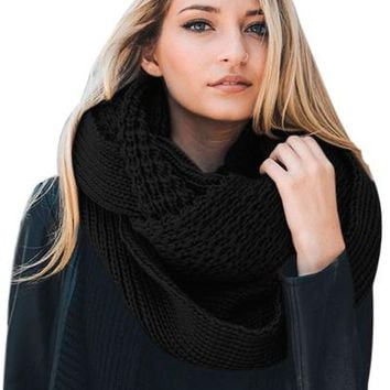 Chicloth Black Cable Knit Chunky Scarf