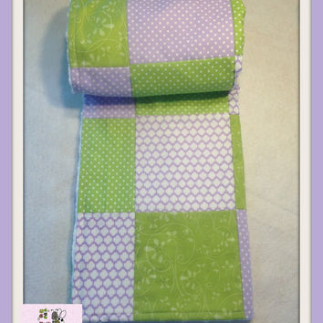 Baby Girl Lime and Lavender color Blanket  , Baby Girl Quilt, Nursery Blanket , Lime Green Blanket , Minky Girl Blanket --Special Price--