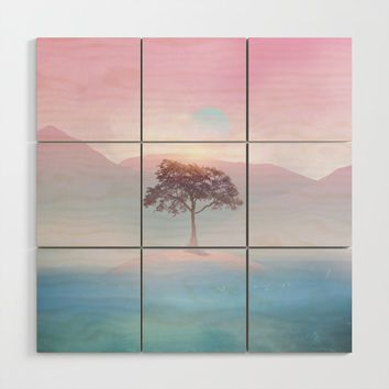 Lone tree vibes Wood Wall Art by vivianagonzlez