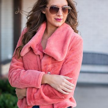 Some Kind Of Love Faux Fur Jacket : Peach