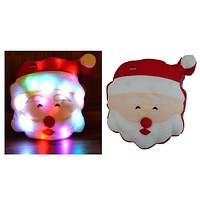Tache Cute Christmas Lights Cheery Santa Microbead LED Throw Pillow (TTS140340)