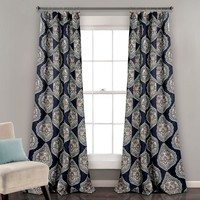 Navy Belle Boheme Room Darkening Window Curtains