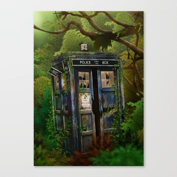 Abandoned Tardis doctor who in deep jungle iPhone 4 4s 5 5s 5c, ipod, ipad, pillow case and tshirt Canvas Print by Three Second
