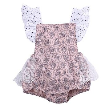Cotton Newborn Infant Baby Girls Sleeveless Pink Lace Romper backless Jumpsuit Clothes