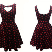 Hell BunnySweetheart Red and Black Hearts 50's Dress