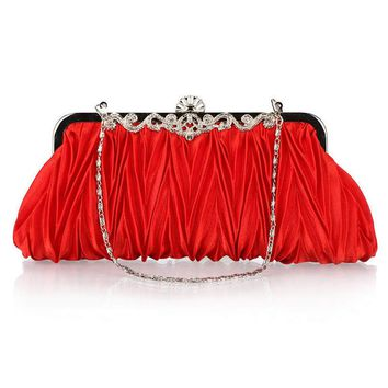 2017 Elegant Women satin Red purple Wedding handbag Clutch Party Prom Evening bag purse Chain bag with diamond