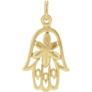 Sterling Silver Plated with 24K Yellow Gold Plating Hamsa Hand Charm Pendant