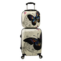 World Traveler Butterfly 2-piece Hardside Carry-on Spinner Luggage Set | Overstock.com Shopping - The Best Deals on Two-piece Sets