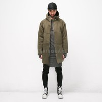 Mens Neoprene Raglan Zip-Up Hood Shearling Coat at Fabrixquare