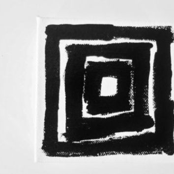 Original Modern Black and White Art Modern Abstract Painting Art Lines Square OOAK Minimal - 4 x 4 inch Canvas - FREE SHiPPiNG (Canada & US)