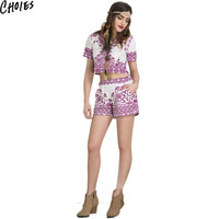 Two Pieces 2016 Women Summer White Short Sleeve Floral Print Crop Top Blouse with High Waist Shorts Casual Women Sets