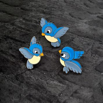 Trendy Cartoon Blue bird Brooch Cute Enamel Three birds Animal Pin Button Backpack Denim jacket Pin Collar Lapel Badge Jewelry for kids AT_94_13