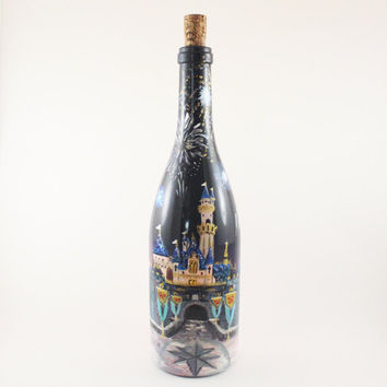 Hand Painted Disney Inspired Up-Cycled Wine Bottles: The Fireworks - Disneyland