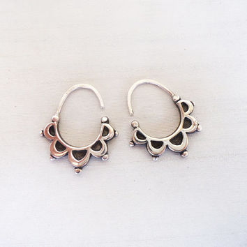 Floral Half Moon Hoop Earrings in Sterling Silver - Iconic Floral Delicate Original Unique Hoop Earrings - Contemporary Jewelry in Silver