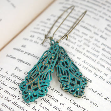 Antique Gold and Turquoise Green Filigree Verdigris Earrings - Boho Jewelry - Long Lightweight Earrings - Ready to Ship