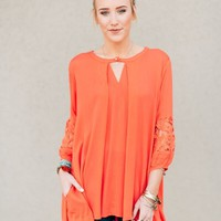Elise Coral Lace Sleeve Blouse