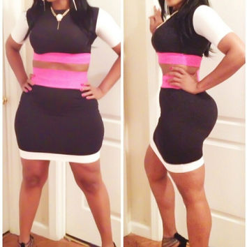 Black Short Sleeve Cropped Top And High Waisted Mini Skirt