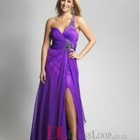 A-Line One Shoulder Chiffon Regency Long Prom Dress/Evening Gowns With Beading VTC388