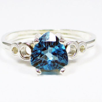 London Blue Topaz Trillion Bubble Ring Sterling Silver, December Birthstone Ring, 925 Topaz Ring, Sterling Blue Topaz Ring