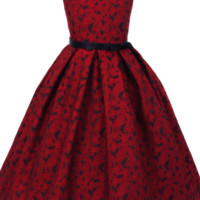 Girls Red & Black Floral Jacquard Dress with Pleated Skirt 2T-12