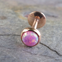Rose Gold Pink Fire Opal 16 Gauge Cartilage Earring Tragus Monroe Helix Piercing You Choose Stone Size