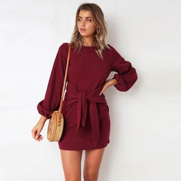 Women Bow Tie Long Sleeve Mini Dress