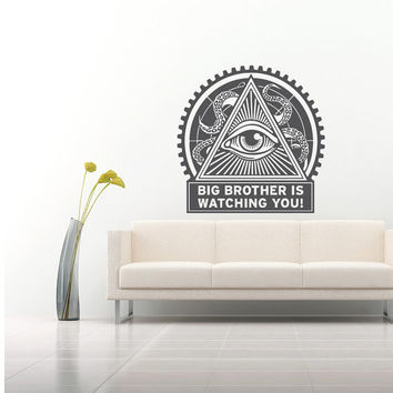 Wall Decal Vinyl Sticker Decals Art Home Decor Design Mural Big Brother is Watching You Eye Octopus Sprut Tentacles Bedroom Dorm AN542