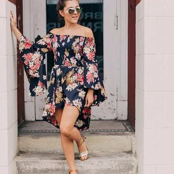 Angie Shirred Floral Midi Romper - Women's Rompers/Jumpsuits in Black | Buckle