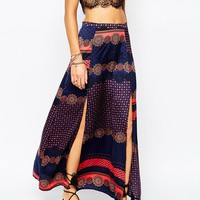 Glamorous Printed Maxi Skirt with Thigh Splits