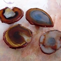 Copper Edge Custom Natural Agate Slice Drawer Pulls Knobs Brown Rust Screws Included