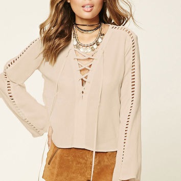 Bell-Sleeve Lace-Up Top