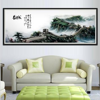 1 Piece Classical Chinese Style Unframed Wall Picture The Great Wall Art Canvas Painting For Living Room Sofa Wall Decoration