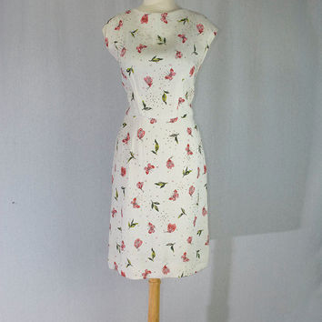 Vintage 50s Pin-up Rhinestone and Jeweled Butterflies Wiggle Dress L ON SALE!